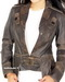 Womens Draped Collar Leather Jacket