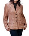 Three Button Womens Leather Blazer