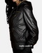 Womens hooded bomber leather jacket