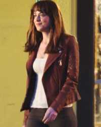 Fifty-Shades Fifty Shades of Grey Anastasia Steele Brown Leather Jacket