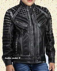 Real Junior Black distressed leather jacket for boys