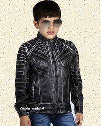 Junior Black distressed leather jacket for boys
