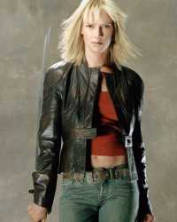 Uma-Thurman Kill Bill 2 Uma Thurman Distressed Leather Jacket