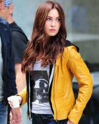 "Megan-Fox Ninja Turtles Megan Fox ""April O'Neil"" Yellow Leather Jacket"