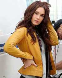 "Real Megan-Fox Ninja Turtles Megan Fox ""April O'Neil"" Yellow Leather Jacket"