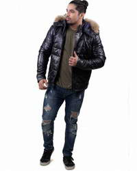 Real Mens-Parka Down Parka Leather Jacket Mens with Removable Hood