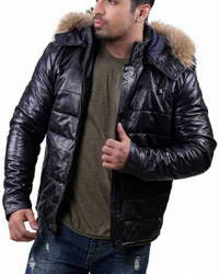Mens-Parka Down Parka Leather Jacket Mens with Removable Hood