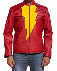 Shazam Shazam Red Cosplay Leather Jacket
