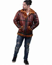 Real Shearling-Bomber RAF British flying aviator shearling bomber jacket