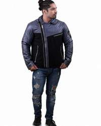 Real Biker Multicolor Mens Biker Leather Jacket