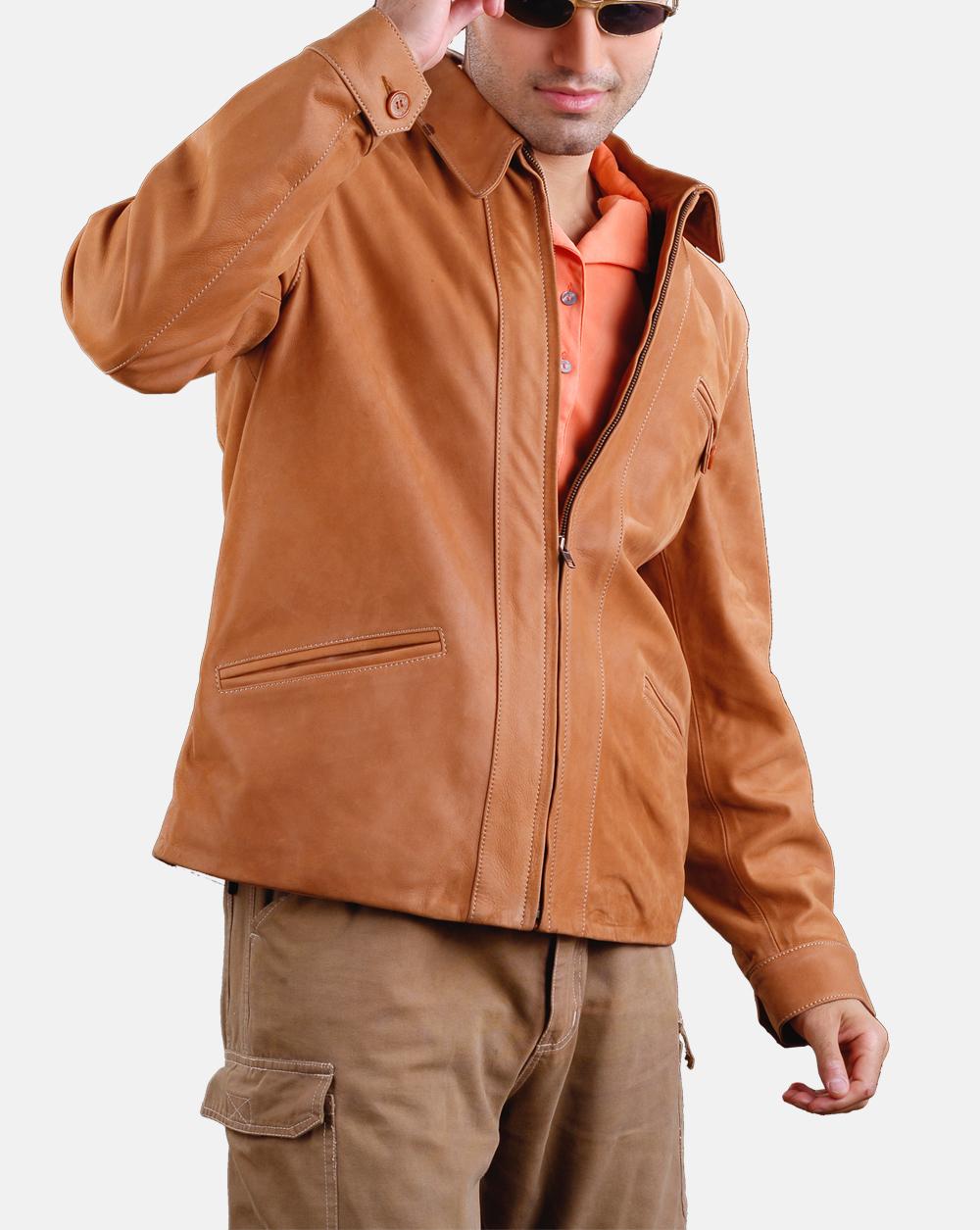 Kansas Bomber Soft Mens Cow Snuffed Genuine Leather Jacket