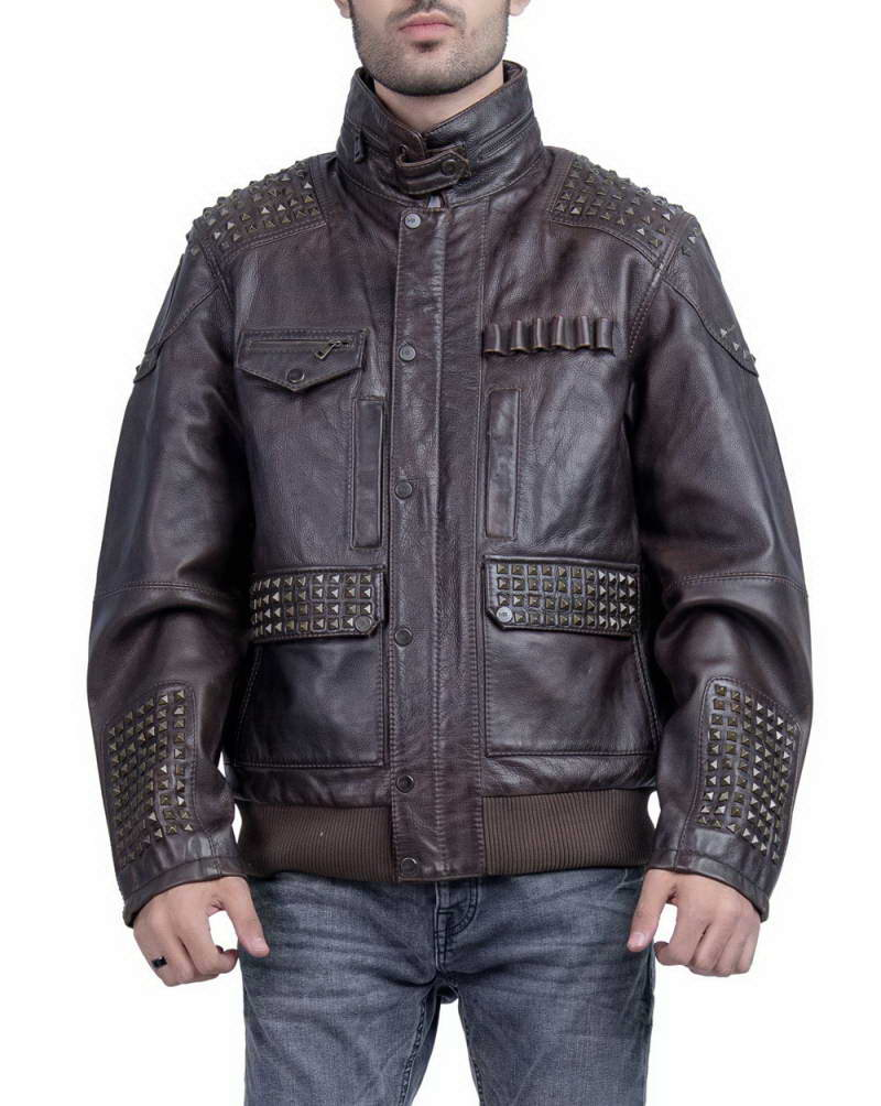 Men/'s Leather Jackets in Red and Black Shade Chase Squad Distressed Leather Jackets Men