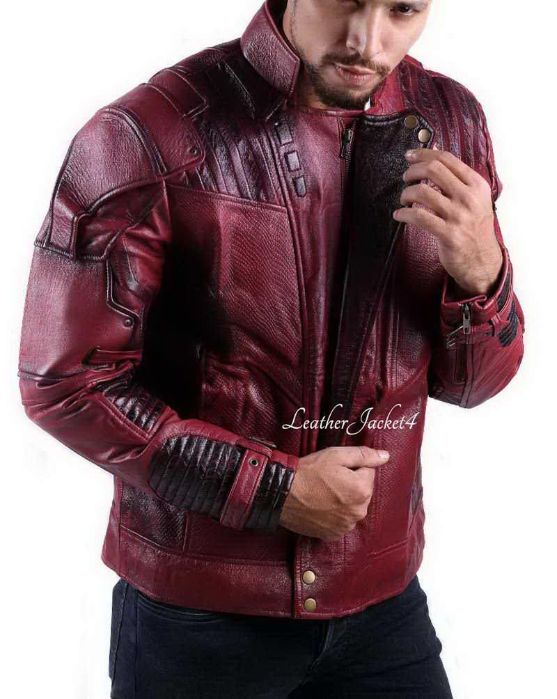 Star Lord Guardians of Galaxy 2 Chris Pratt Real Leather Jacket