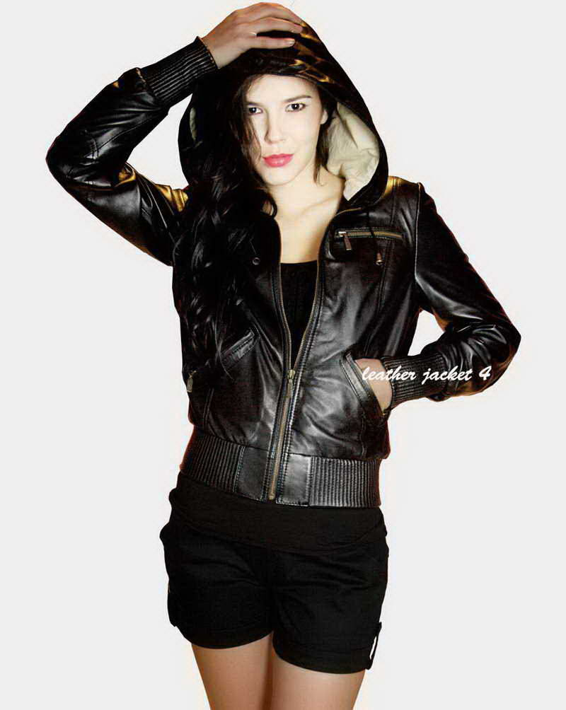 hoodie leather jacket
